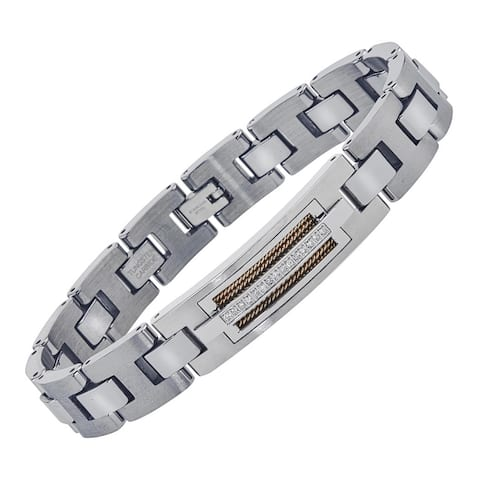Men's Tungsten Stainless Steel Diamond-cut ID-style Bracelet with Wire Braid Inlay By Ever One