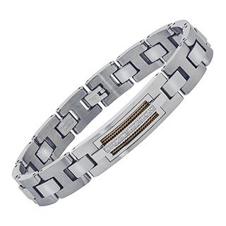 Men's Tungsten Stainless Steel Diamond-cut ID-style Bracelet with Wire Braid Inlay