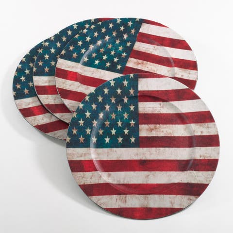 Decorative Collection US Flag Design Charger Plate (Set of 4)