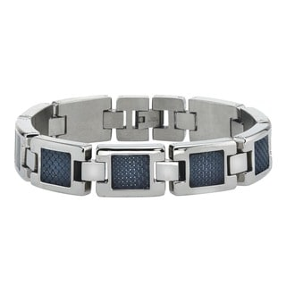 Men's Stainless Steel and Black Carbon Fiber Bracelet By Ever One