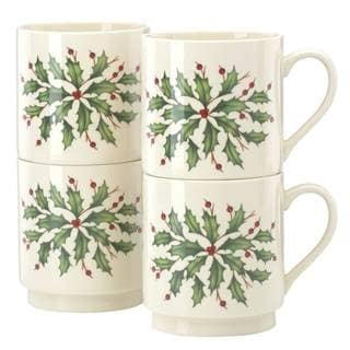 Lenox Holiday DW Ivory Porcelain Stackable Mugs (Pack of 4)