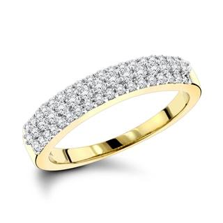 Luxurman 14k Gold 3/5ct TDW Diamond 3-row Wedding Band