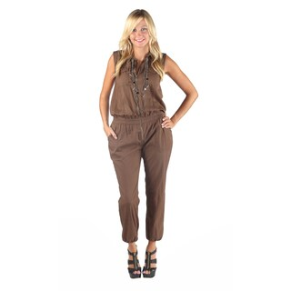 Hadari Womens Brown Wing Collar Sleeveless Harem Ankle Pant Jumpsuit With Front Pockets