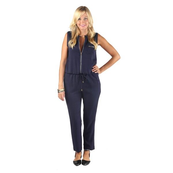 Hadari Womens Navy Frontal Zipper Sleeveless Top with Drawstring Waistline Straight Leg Jumpsuit