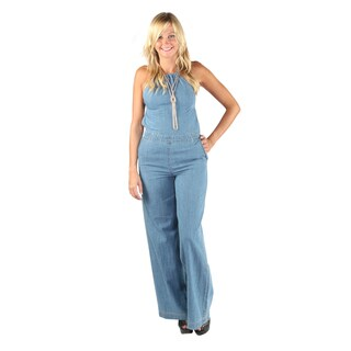 Hadari Womens Open Back Crossed Spaghetti Halter Top Denim Wide Leg Pant Jumpsuit