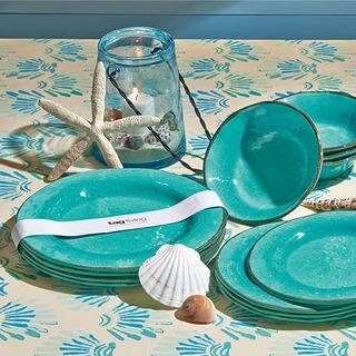 TAG Veranda Melamine Dinner Plates Ocean Blue|https://ak1.ostkcdn.com/images/products/12172724/P19024278.jpg?impolicy=medium