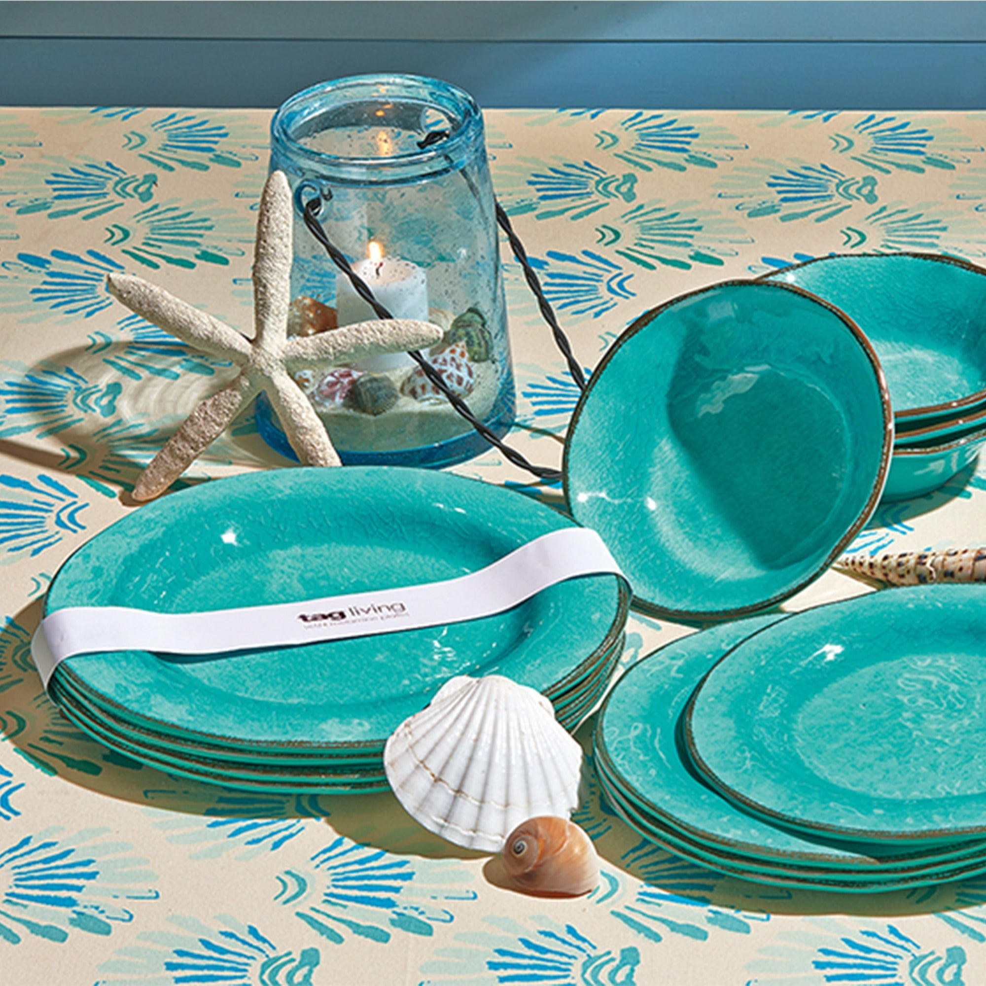 Teal Blue Dinner Plates Ocean Southern Living Dish Set Beach Dishes Round New