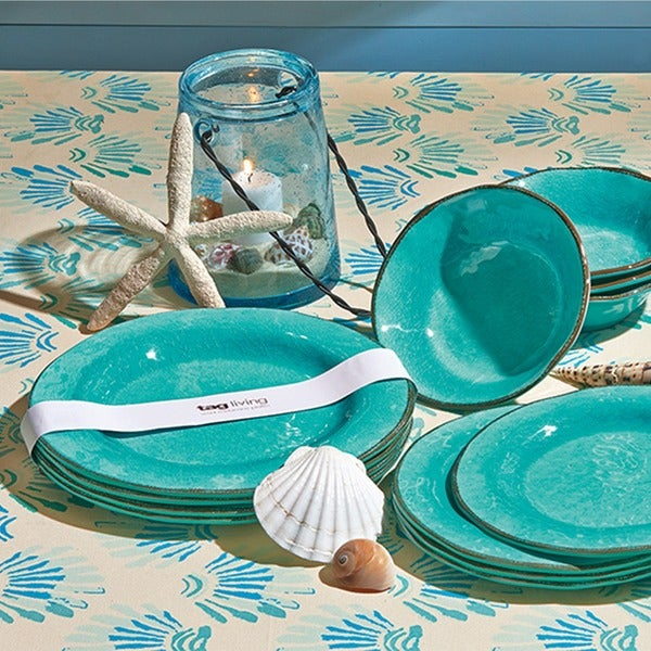 TAG Veranda Melamine Dinner Plates Ocean Blue & TAG Veranda Melamine Dinner Plates Ocean Blue - Free Shipping On ...