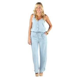 Hadari Womens V-Neck Button Down Sleeveless Straight Pant Denim Jumpsuit With Elastic Waistband
