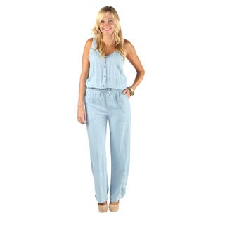 7619f59c93a Hadari Womens V-Neck Button Down Sleeveless Straight Pant Denim Jumpsuit  With Elastic Waistband