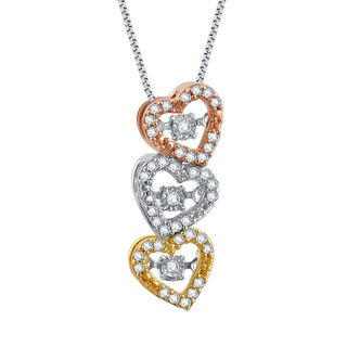 Rhodium and Goldplated Sterling Silver 1/5Ct TDW Diamond Dancing Three Heart Pendant (I-J,I2-I3)