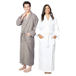 Superior Cotton Waffle Weave Spa Bath Robe (Option: White)