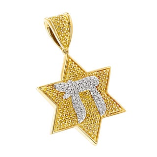 Luxurman 14k Yellow Gold 1/2ct TDW Yellow and White Diamond Chai and Star of David Pendant Necklace