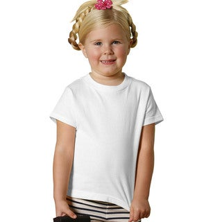 Youth White Cotton Jersey Short-sleeved T-shirt (Option: 4t)