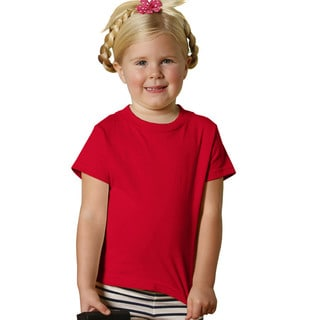Girls' Red 5.5-ounce Jersey Short-sleeved T-shirt (Option: 4t)