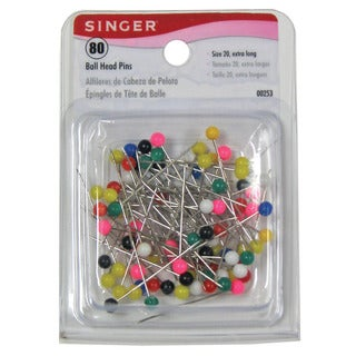 Singer 00253 Size 20 Extra Long Assorted Color Ball Head Pins 80-count