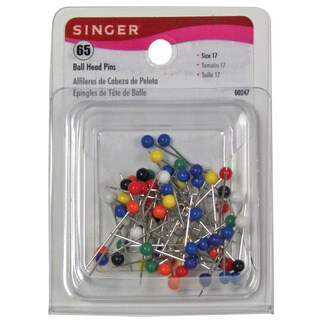 Singer 00247 Size 17 Assorted Colors Ball Head Straight Pins 65-count