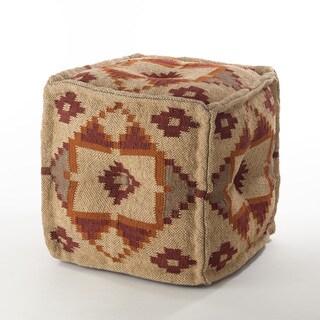 Kilim Design Jute Wool Blend Pouf Ottoman