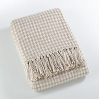 Sevan Collection Soft Cotton Houndstooth Throw Blanket