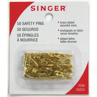 "Singer 00224 3/4"""" To 7/8"""" Safety Pins 50-count"