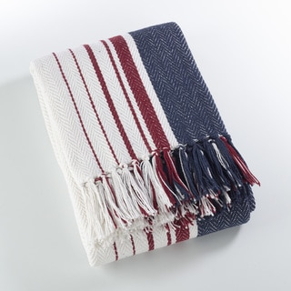 Sevan Collection Soft Cotton Striped Throw Blanket