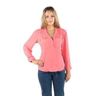 Hadari Womens Black V-Neck Long Sleeve Blouse with front stylish zipper pockets