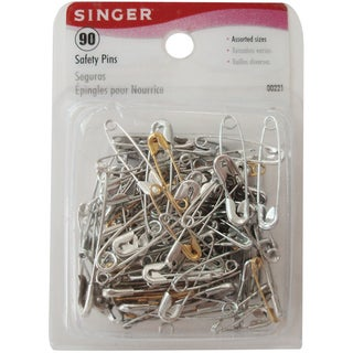 Singer 00221 Assorted Sizes Safety Pins 90-count