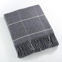 Windowpane Tasseled Wool Blend Throw Blanket
