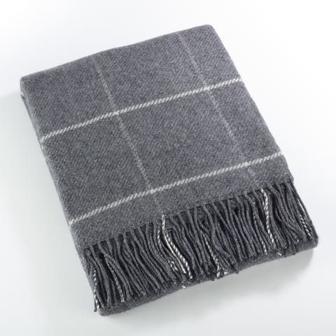 Windowpane Tasseled Wool Blend Throw Blanket