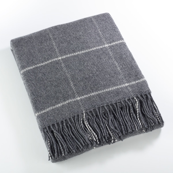 shop windowpane tasseled wool blend throw blanket on sale free shipping today overstock. Black Bedroom Furniture Sets. Home Design Ideas