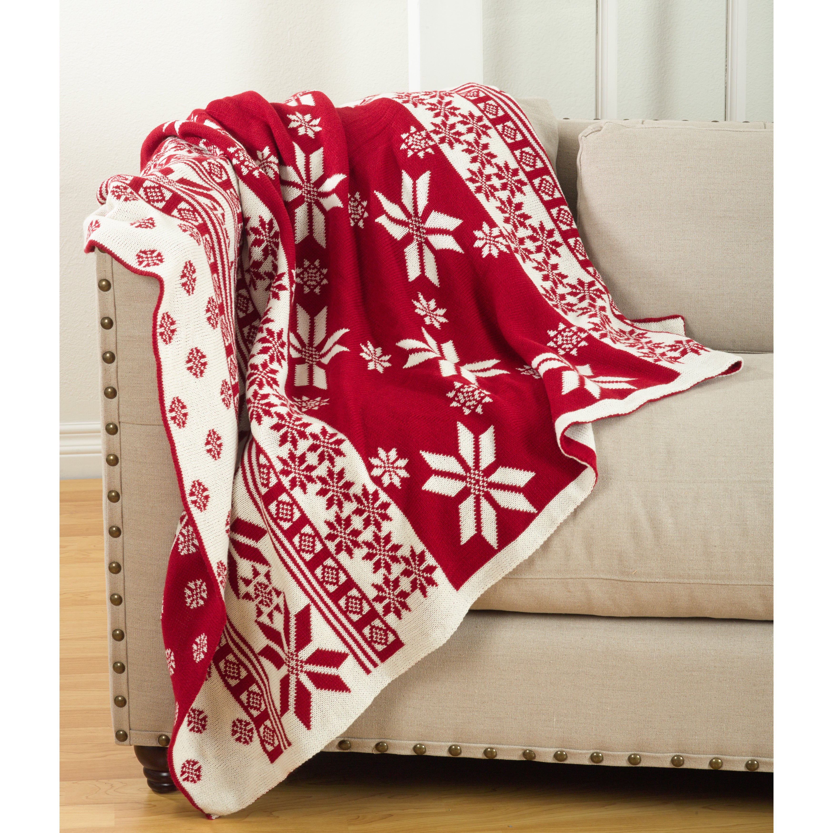 Christmas Blankets.Sevan Collection Knitted Christmas Design Throw Blanket