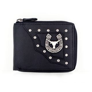 Faddism Men's YAALI Series Genuine Leather Bull Head and Horse Shoe Emblem Studded Zip-around Bifold Wallet