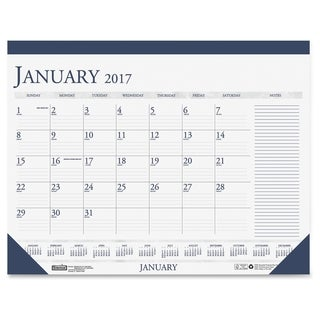 House of Doolittle Two-Color Monthly Desk Pad Calendar - Blue
