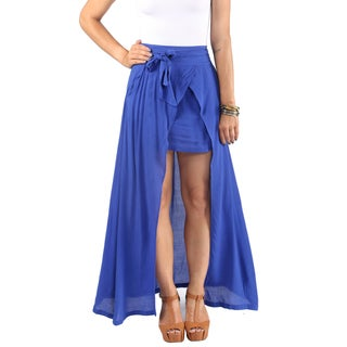 Hadari Royal Crepe Maxi Skirt. Triangular Slit Down Center And Wraparound Bow