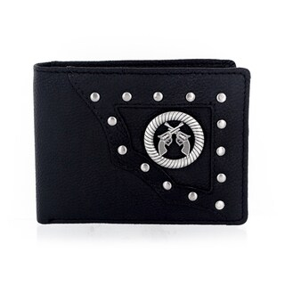 Faddism Men's Yaali Series Genuine Leather Dual Revolver Pistol Guns Emblem Studded Bifold Wallet