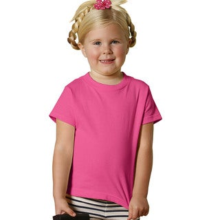 Girls' Hot Pink Cotton 5.5-ounce Jersey Short Sleeve T-shirt