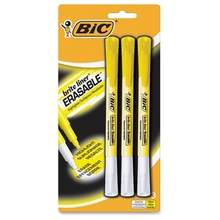 BIC Brite Liner Erasable Highlighters - Yellow (3/Pack)