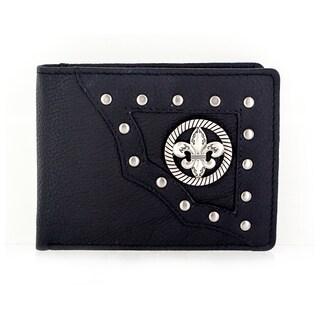 Faddism Men's YAALI Series Genuine Leather Fleur-de-Lis Emblem Studded Bi-fold Wallet