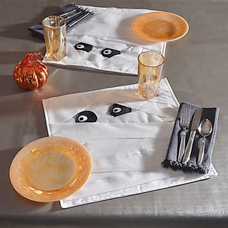 Mummy White/Black Polyester 14.5-inch x 14.5-inch Placemats (Set of 2)