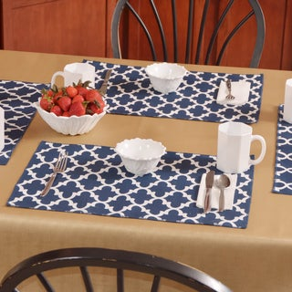 Fulton Oxford Blue/White Polyester Placemats (Set of 4)