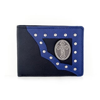 Faddism Yaali Series Genuine Leather Coss Symbol Emblem Studded Bifold Wallet