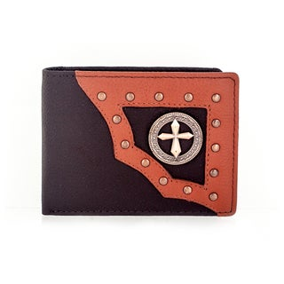 Faddism Yaali Series Men's Tan Leather Circle and Cross Emblem Textured Studded Bifold Wallet