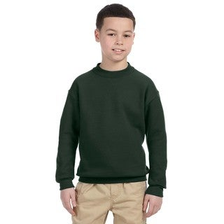 Super Sweats Boys' Forest Green Cotton/Polyester Crew Neck Sweatshirt