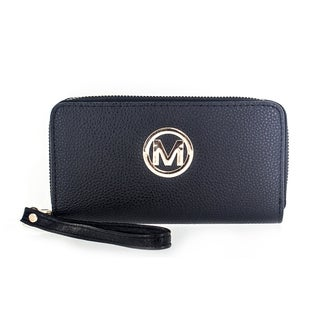 Faddism Women's Genuine Leather Circle 'M' Emblem Dual Zip-around Clutch Wallet