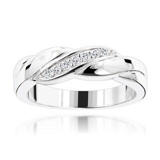Luxurman 18k Gold 1/10ct TDW Diamond Wedding Ring