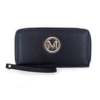 Faddism Women's Genuine Natural Leather Dual Zip-around Clutch Bag/Wallet