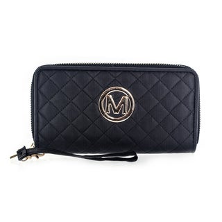 Faddism Women's Diamond Quilted Genuine Leather Dual Zip-around Clutch Bag Wallet