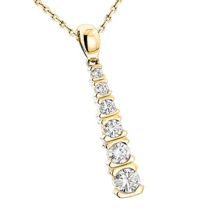 Luxurman 14k Yellow Gold 1/2ct TDW Diamond Pendant (G-H, SI1-SI2)