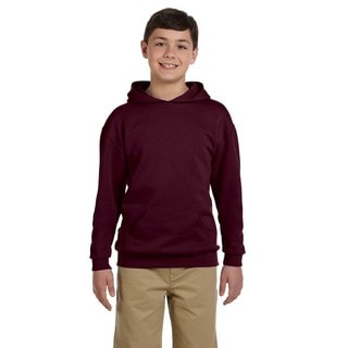 Nublend Boys' Maroon Cotton and Polyester Hooded Pullover Sweatshirt