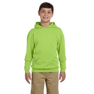 Boys' Neon Green Cotton/Polyester Nublend Hooded Pullover Sweatshirt